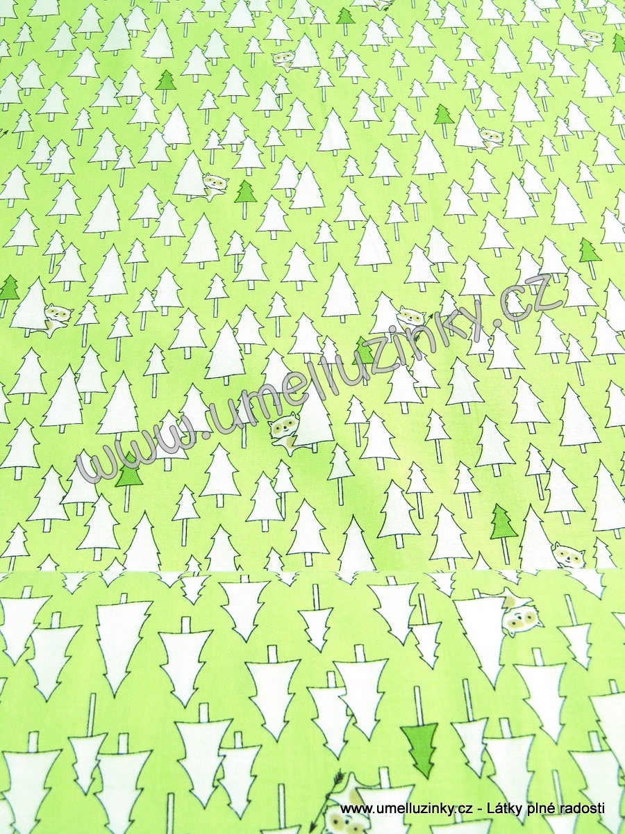 metráž, látka, bavlna, stromy, zvířátka, les, 25948 G (Light Green) Trees, cotton, fabric, Camp S´more by Ink & Arrow, Lisa Jane Smith